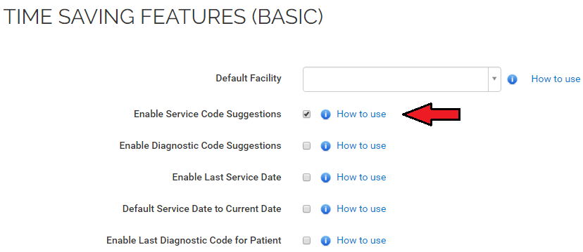 Enable service code suggestions