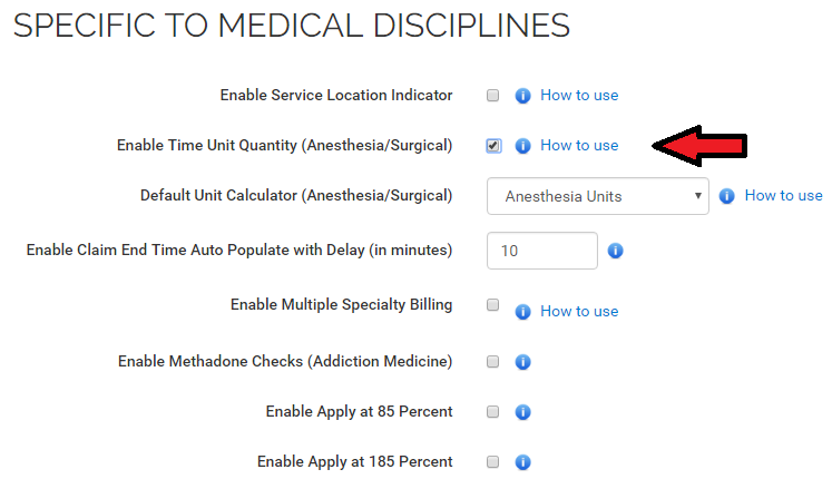 Settings specific to medical specialty MDBilling.ca