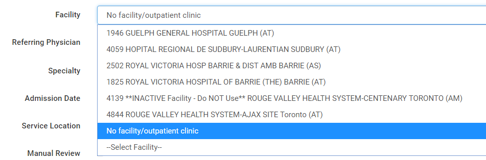 List of facilities where medical service can be rendered