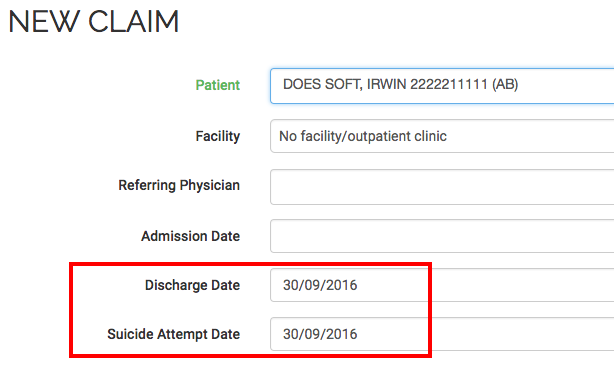 New medical claim window with suicied attempt date for psychiatry premium calculation