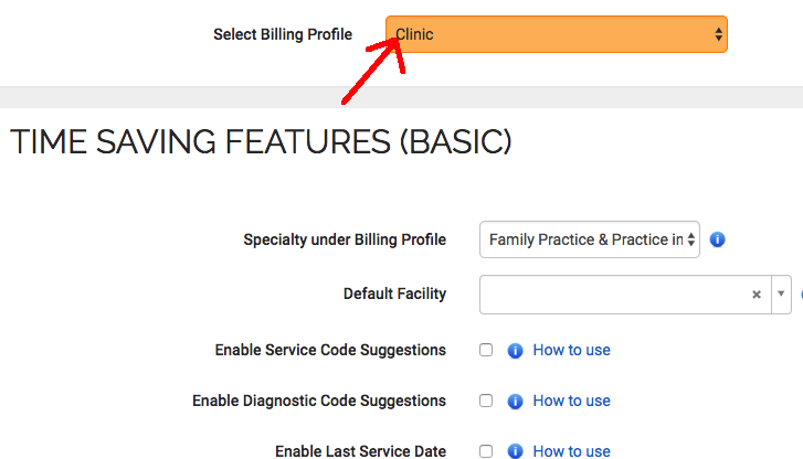 When changing a billing profile setting select the correct billing profile