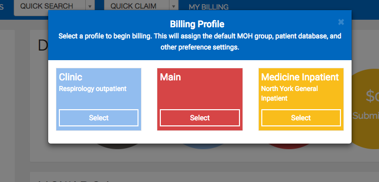 Selecting a billing profile on app log in