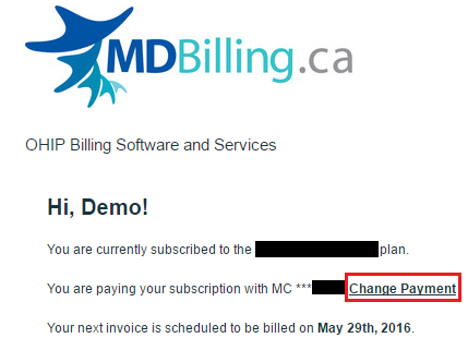 MDBilling.ca confirmation screen